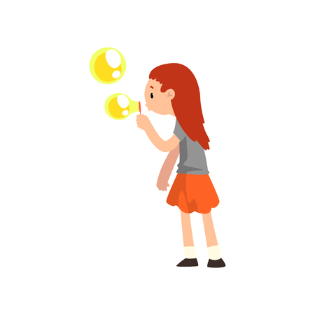 Girl blowing soap bubble cartoon vector Illustration isolated on a white background. Çizim