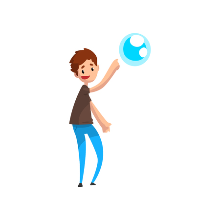 Teen boy pointing his finger at soap bubble cartoon vector Illustration isolated on a white background.