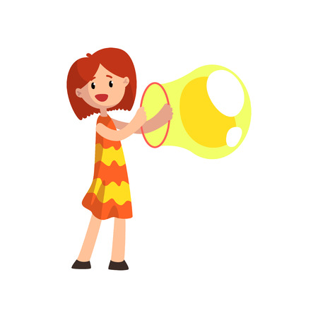 Cute girl blowing big soap bubble with ring cartoon vector Illustration isolated on a white background.