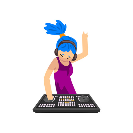 DJ girl with blue hair in headphones mixing music on vinyl turntables, girl playing track on mixer console deck vector Illustration isolated on a white background. Ilustrace
