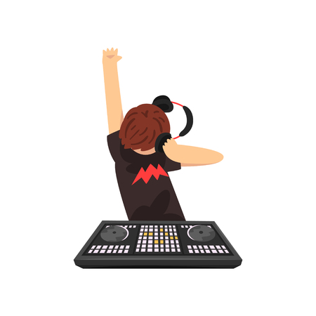 Male DJ in headphones mixing music on vinyl turntables, guy playing music on mixer console deck vector Illustration isolated on a white background. Ilustrace