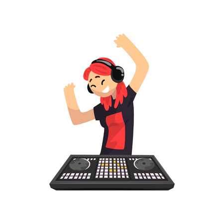 DJ girl in headphones playing track and dancing, young woman mixing music on mixer console deck vector Illustration isolated on a white background.