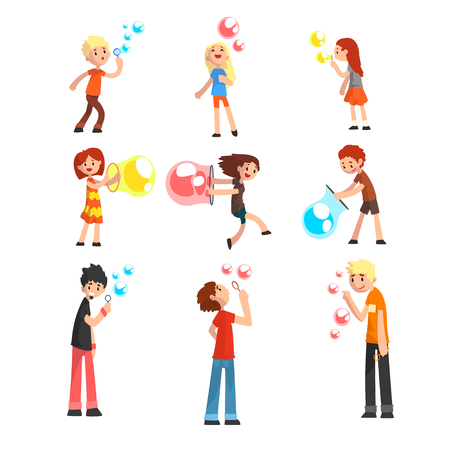 Adults and children blowing soap bubbles set cartoon vector Illustration isolated on a white background. Illustration