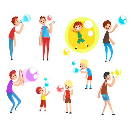 Adults and children blowing soap bubbles, people having fun cartoon vector Illustration on a white background Stock Illustratie