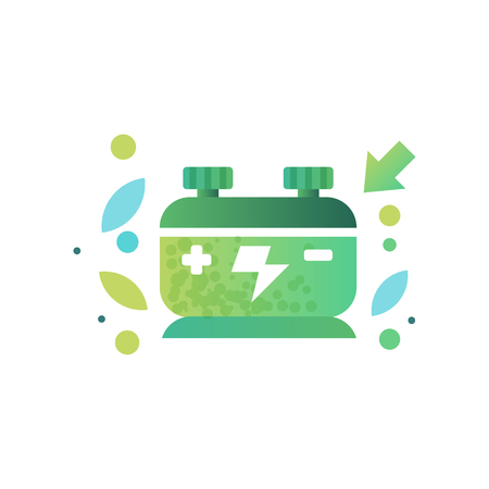 Eco friendly battery, renewable energy, ecology concept vector Illustration on a white background