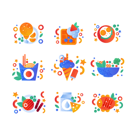 Healthy organic products and fast food set, fried chicken, belgian waffle, noodles wok, grilled fish, milk and cheese vector Illustration isolated on a white background.
