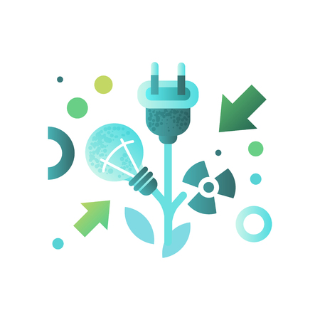 Lightbulb and cable plug, ecology concept, eco friendly technologies vector Illustration isolated on a white background.  イラスト・ベクター素材