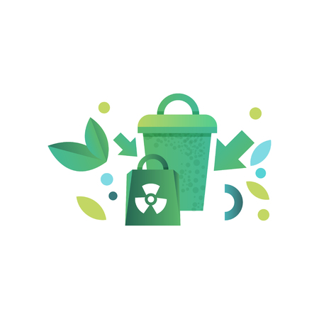 Green recycle bin and paper bag with recycle symbol vector Illustration isolated on a white background.