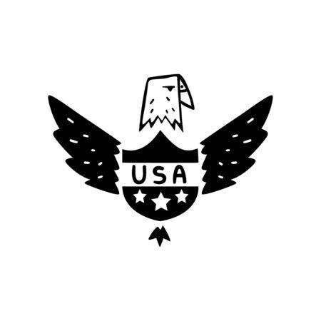 American eagle, USA symbol, retro design element, badge vector Illustration on a white background