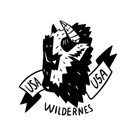 USA wilderness adventure retro design vector Illustration on a white background