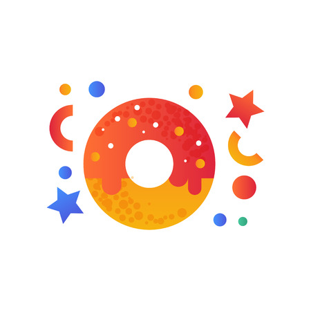 Sweet glazed donut, fast food dish vector Illustration isolated on a white background.