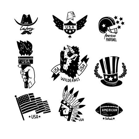 Symbols of USA set, American Independence Day retro hand drawn design elements vector Illustration isolated on a white background.