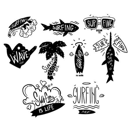 Surfing set, windsurfing motivational quotes, hand drawn design elementa can be used for surf club, shop, clothes print, emblem, badge, label, flyer, poster vector Illustration Illustration