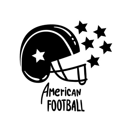 American Football helmet, retro design element, badge vector Illustration on a white background