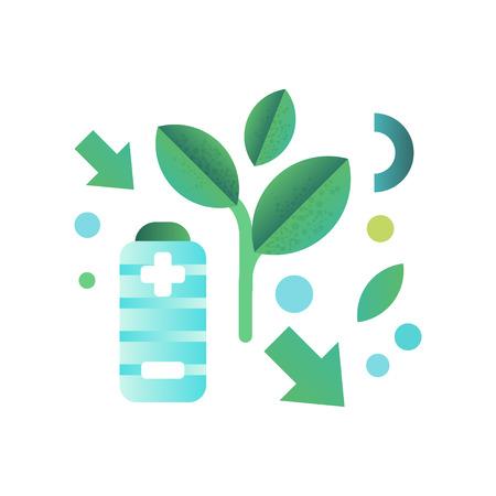 Batteria ecologica, concetto di ecologia, vettore di tecnologie eco-compatibili illustrazione isolato su sfondo bianco.