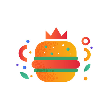 Hamburger, fast food dish vector Illustration isolated on a white background.
