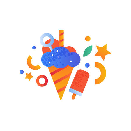 Ice cream and popsicle, sweet desserts vector Illustration isolated on a white background. Illustration