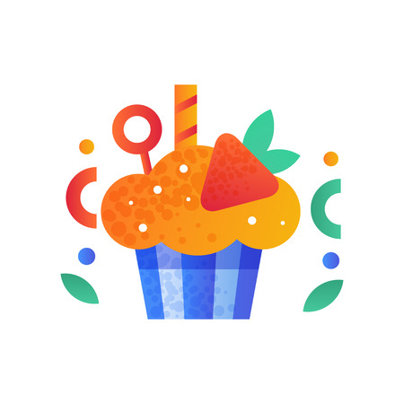 Cupcake decorated with strawberry, sweet delicious dessert element vector Illustration isolated on a white background.