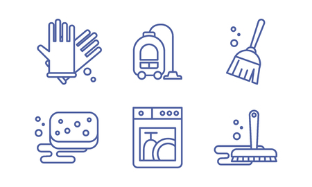 Cleaning and housekeeping icons set, washing, tidying signs, cleaning supplies vector Illustration isolated on a white background.