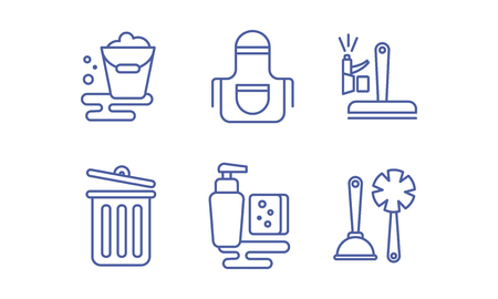 Cleaning service icons set, washing and tidying signs vector Illustration isolated on a white background. Illustration