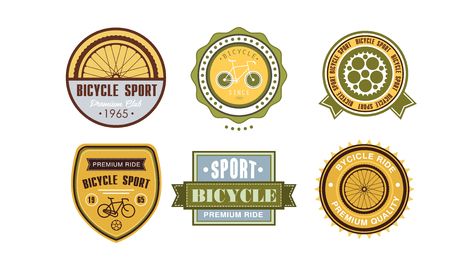 Retro bicycle sport set, vintage sport badges and labels vector Illustration on a white background Illustration