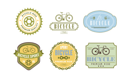 Retro bicycle sport set, badge can be used for bike or repair shop, cycling club, sport extreme activity vector Illustration on a white background Illustration
