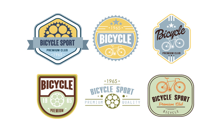 Retro bicycle sport set, vintafe badge, label can be used for bike or repair shop, cycling club, sport extreme activity vector Illustration