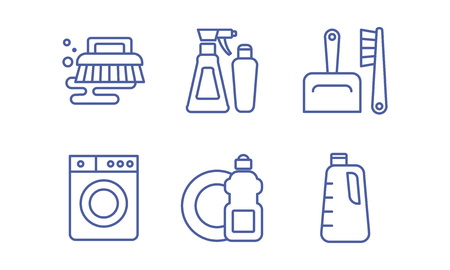 Cleaning service icons set, housekeeping, washing and tidying signs vector Illustration isolated on a white background.