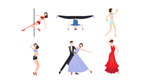 Collection of professional dancers dancing classical and modern dance vector Illustration on a white background