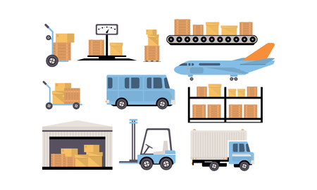 Merchandise warehouse and logistic, storage building, shelves with goods, cargo and unloading transport vector Illustration isolated on a white background.