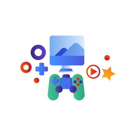Gaming console, computer screen and game controller vector Illustration isolated on a white background.