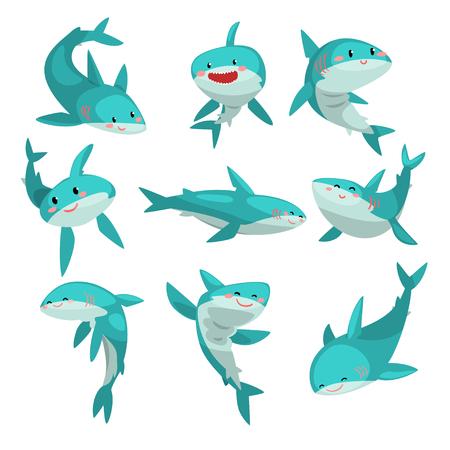 Set di squali carini amichevoli, carino divertente mare animale personaggio dei cartoni animati vettoriale illustrazione isolato su sfondo bianco. Vettoriali