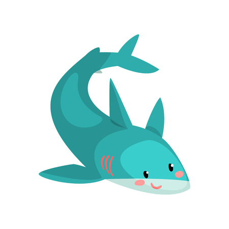 Cute blue shark cartoon character vector Illustration isolated on a white background.
