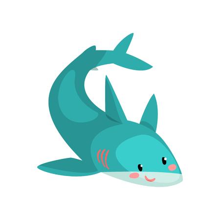 Vector de personaje de dibujos animados lindo tiburón azul ilustración aislada sobre fondo blanco.