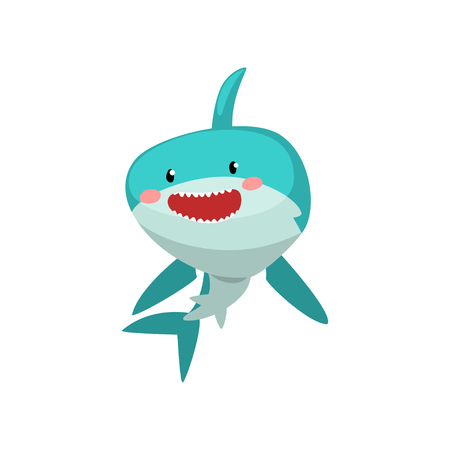 Cute smiling blue shark cartoon character vector Illustration isolated on a white background.