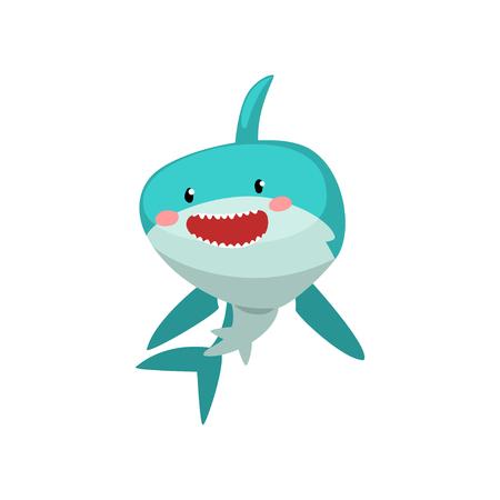 Lindo personaje de dibujos animados de tiburón azul sonriente vector ilustración aislada sobre fondo blanco.