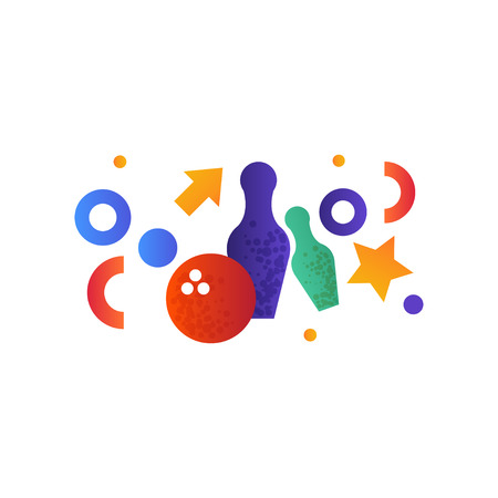 Bowling pins and ball vector Illustration isolated on a white background.