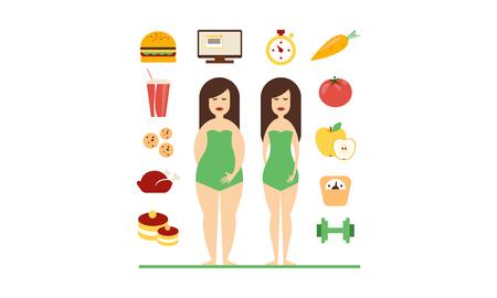 Figure femminili grasse e magre, fast food e alimentazione sana, cattive abitudini e stile di vita sano vettoriale illustrazione isolato su sfondo bianco.