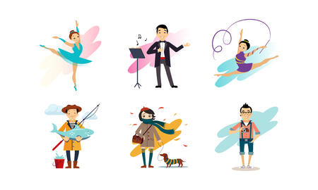 People enjoying various hobbies set, man and woman of various occupations vector Illustration isolated on a white background.