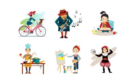 Gente disfrutando de varios pasatiempos, hombre y mujer montando bicicleta, tocando el saxofón, libro de lectura, cocina, pintura vector ilustración aislada sobre fondo blanco