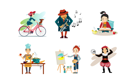 People enjoying various hobbies set, man and woman riding bike, playing saxophone, reading book, cooking, painting vector Illustration isolated on a white background.