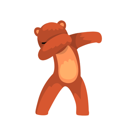 Cute bear standing in dub dancing pose, cartoon wild animal doing dubbing vector Illustration isolated on a white background.