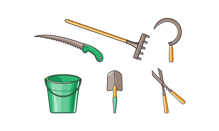 Gartengeräte Icons Set, Eimer, Rechen, Säge, Sichel, Gartenschere, Schaufel Vektor Illustration isoliert auf weißem Hintergrund.