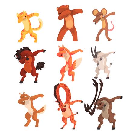 Vari animali in piedi in pose danzanti dub insieme, animali selvatici svegli del fumetto facendo doppiaggio vettoriale illustrazione isolato su sfondo bianco.