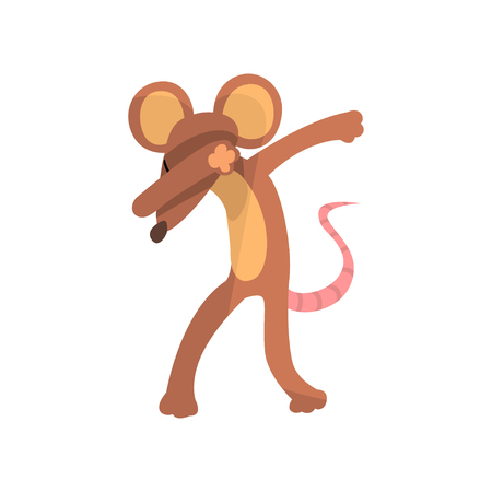 Funny mouse standing in dub dancing pose, cute cartoon animal doing dubbing vector Illustration isolated on a white background.