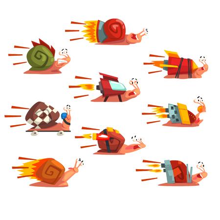 Conjunto de caracoles rápidos, personajes de moluscos de divertidos dibujos animados con impulsores de velocidad de cohete turbo vector ilustración sobre un fondo blanco