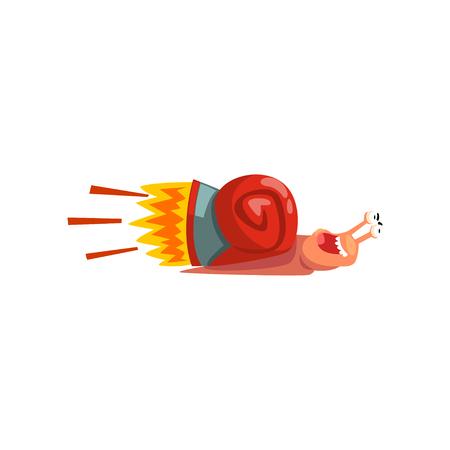 Caracol rápido, personaje de dibujos animados lindo molusco con vector de refuerzo de velocidad turbo ilustración sobre un fondo blanco
