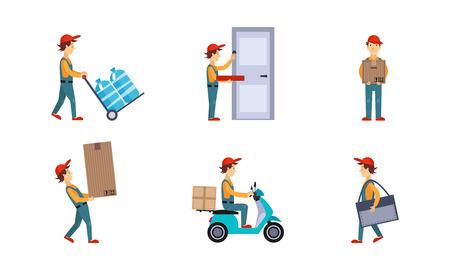 Courier or delivery men set, workers delivering water bottles, pizza, boxes, parcels, express delivery service concept vector Illustration isolated on a white background. Ilustração