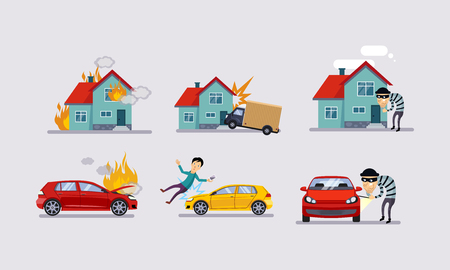 Insurance and risk insured events set, road accidents, property protection vector Illustration in flat style