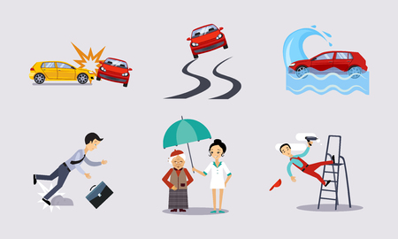 Insurance and risk insured events set, road accidents, health and life protection vector Illustration in flat style